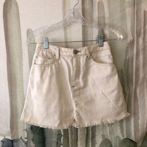 Cream Denim Skirt